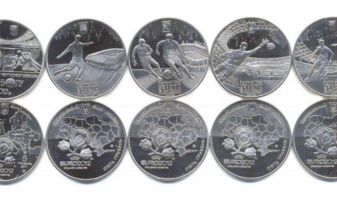 Комплект из пяти монет — 5 гривен Евро-2012 Украина | Купить монеты